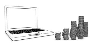 Laptop with coins Stock Photo