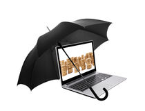 Laptop with coins protected by an umbrella Stock Images