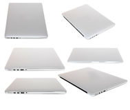 Laptop collage. Collage of a modern thin silver laptop on white Stock Image