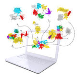 Laptop with colored business sketches royalty free illustration