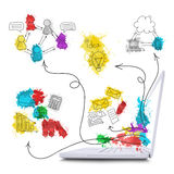 Laptop with colored business sketches Stock Image