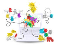 Laptop with colored business sketches stock photos