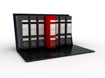 Laptop and colorful archive folders into the screen, 3D Royalty Free Stock Images