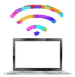 Laptop with Colorful Wifi Signal. Laptop with Colorful and Artistic Wifi Signal and Blank Screen Isolated in White Background stock illustration