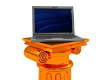 Laptop on column Royalty Free Stock Photography