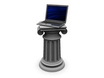Laptop on column. 3d illustration of laptop on column, white background Stock Photography