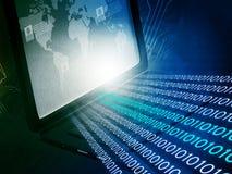Laptop com córregos binários Fotos de Stock