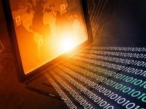 Laptop com córregos binários Imagem de Stock