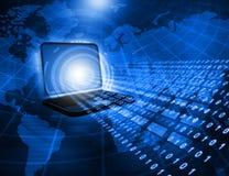 Laptop com córregos binários Fotografia de Stock