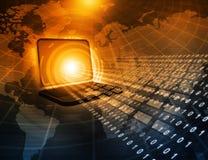 Laptop com córregos binários Foto de Stock Royalty Free