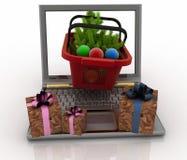 Laptop com os cestos de compras festivos no fundo branco Fotos de Stock Royalty Free