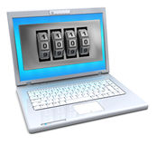 Laptop with combination lock Stock Images