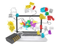 Laptop with combination lock and business sketches Royalty Free Stock Photos