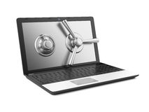 Laptop and combination Lock Royalty Free Stock Images