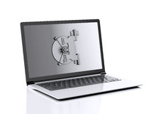 Laptop and combination Lock. Data security concept. Stock Photo