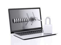 Laptop and combination Lock. Data security concept. Royalty Free Stock Image