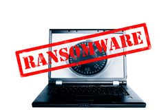 Ransomware computer lock. Laptop with a combination lock and Ransomware stamp Royalty Free Stock Photography