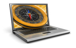Laptop and Compass (clipping path included) Stock Image
