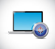 Laptop and compass illustration design Stock Photo