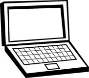 Laptop computer. Black and white illustration of a laptop computer Stock Images