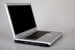 Laptop computer. Silver laptop computer with black keyboard Royalty Free Stock Photography