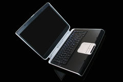 Laptop computer. Computer laptop on black background Stock Photos