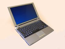 Laptop computer. Open portable laptop computer with a blue screen royalty free stock images