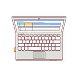 Laptop computer aerial top view Royalty Free Stock Image