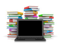 Laptop Computer Ahead of Piles of Books. Black Laptop Computer with Blank Display Ahead of Piles of Colored Books 3D Illustration on White Background Royalty Free Stock Image