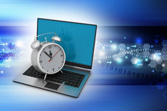 Laptop computer with alarm clock Stock Images