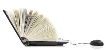 Laptop computer als Boek Stock Fotografie