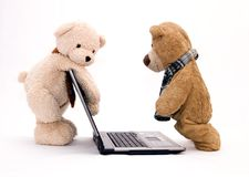 Free LAPTOP COMPUTER And TEDDY BEAR Stock Photos - 2908403