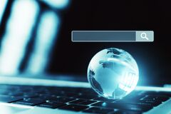 Free Laptop Computer And World  With Internet Network Structure. Searching Information Data On Internet Networking Concept Stock Images - 173677464