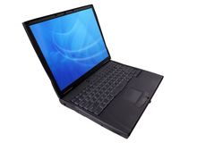 Laptop computer at an angle Royalty Free Stock Photography