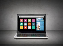 Laptop computer with application icons screen Stock Photo