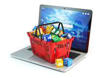 Laptop computer application software icons in the shopping baske. T  isolated on white background. Store of apps concept. 3d illustration Royalty Free Stock Image