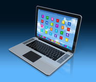 Laptop Computer - apps icons interface Stock Photos