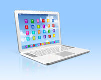 Laptop Computer - apps icons interface Royalty Free Stock Photo
