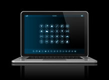 Laptop Computer - apps icons interface Royalty Free Stock Images