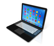 Laptop Computer - apps icons interface Royalty Free Stock Photos