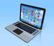 Laptop Computer - apps pictogrammeninterface Stock Afbeeldingen