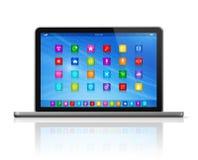 Laptop Computer - apps pictogrammeninterface Royalty-vrije Stock Foto's