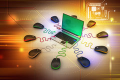 Laptop computer around with mouse Royalty Free Stock Photos