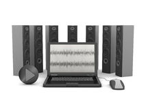 Laptop computer and audio speakers Royalty Free Stock Photos