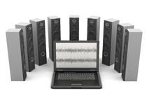 Laptop computer and audio speakers Stock Image