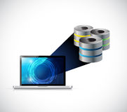 Laptop computer big data storage illustration Stock Photography