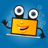 Laptop computer big eyes character cartoon smile with hands yellow mascot face happy Royalty Free Stock Photos