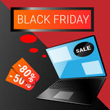 Laptop Computer Big Holiday Sale Black Friday Online Shopping. Flat Vector Illustration Royalty Free Stock Image