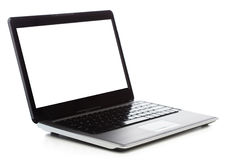 Laptop computer with blank black screen Stock Images