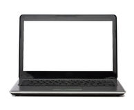 Laptop computer with blank white screen Royalty Free Stock Image